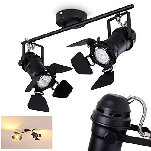 Deckenleuchte Lichinga, Deckenlampe aus Metall in Schwarz, 2-flammig, mit verstellbaren Strahlern, 2 x GU10-Fassung max. 50 Watt, moderner Spot in Filmlampen-Optik, Studioleuchte, LED geeignet