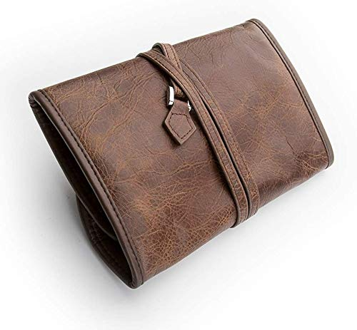 LC_Kwn Leather Tobacco Smoking Pipe Pouch Case/Bag for 2 Tobacco Pipe and Other Accessories-Brown
