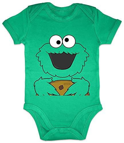 HARIZ Baby Body Kurzarm Keks Monster Karneval Verkleidung Plus Geschenkkarten Frosch Quietsch Grün 0-3 Monate