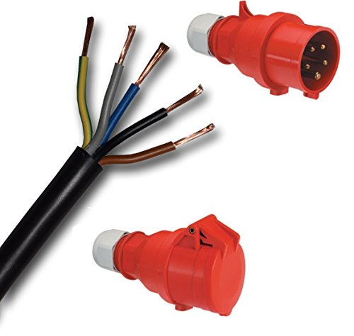 Individuele rubber verlengkabel rubberen kabel H07RN-F 5G6 mm2 (zwart) 5x6 mm2 + CEE stekker + koppeling/bus (rood) 5-polig (3P+N+PE) 400V/32A/IP44 tot 150 M Basisprijs kabel: 4,99 EUR/m 133 Meter Mantel zwart - Aders gekleurd