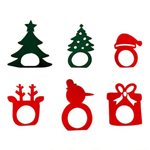 Amosfun 6pcs Porta tovagliolo di Natale portatovagliolo Anello Fibbia Porta tovagliolo Porta stoviglie per la Decorazione della tavola di Natale Festa di Natale