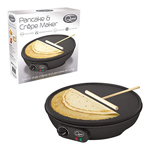 Quest 35540 Electric Pancake & Crepe Maker / 12' Non-Stick Hot Plate With Raised Edges For Reduced Wastage / Adjustable Temperature / Wooden Spreader & Spatula Included / 1000W