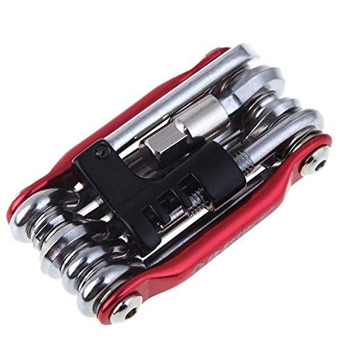 JIEJIE Outils vélo vélo Kit de réparation 15 en 1 Réparation vélo Multifonction Kit Cycle Clé Tournevis chaîne Carbone Outil vélo en Acier VTT Tool Kit QIANGQIANG (Color : A 11 in 1 Red)
