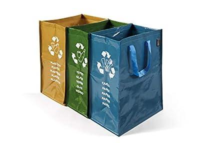 Perfetto 0468D - Cubo de basura para exterior, 3 contenedores, color verde, amarillo y azul , 22 + 26 + 20 x 35 x 49 cm