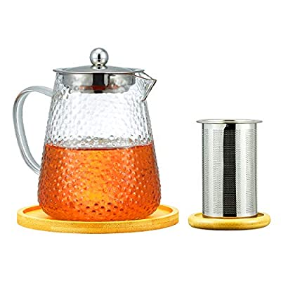 Frosted Glass Teapot Kettle with Removable Stainless Steel Infuser & Bamboo Coasters, Stovetop Microwave Safe for Blooming and Loose Leaf Tea, 950ml/32oz
