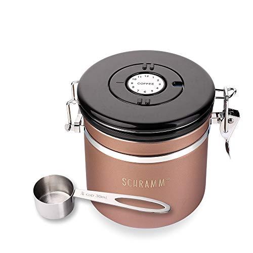 Schramm® Kaffeedose 1200 ml in 10 Farben mit Dosierlöffel Höhe: 12cm Kaffeedosen Kaffeebehälter aus Edelstahl, Farbe:Bronze