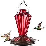 BOLITE 18017-R Hummingbird Feeder, Glass Hummingbird Feeder for Outdoors, Diamond Shape Bottle for Outside, 20 Ounces, Red