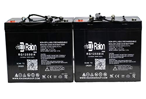 Raion Power RG12550I4 12V 55Ah Replacement Electric Wheelchair Scooter Battery for Pride Jazzy Select 14 XL - 2 Pack