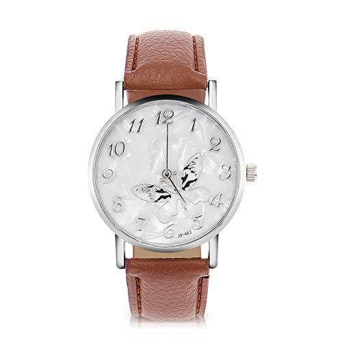 DAUERHAFT Reloj de Cuarzo de Moda de 3 Colores, Relojes de Pulsera con Correa de Cuero de PU, Reloj analógico Femenino para Mujer, Reloj de Regalo para Mujer, Reloj de Pulsera(café)