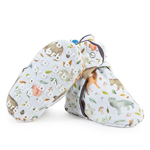 Lightweight Organic Cotton Baby Booties - Grippers, 3 Snaps - No Sock Bootie for Newborn or Infant Boys & Girls (Yellowstone, US 5.5)
