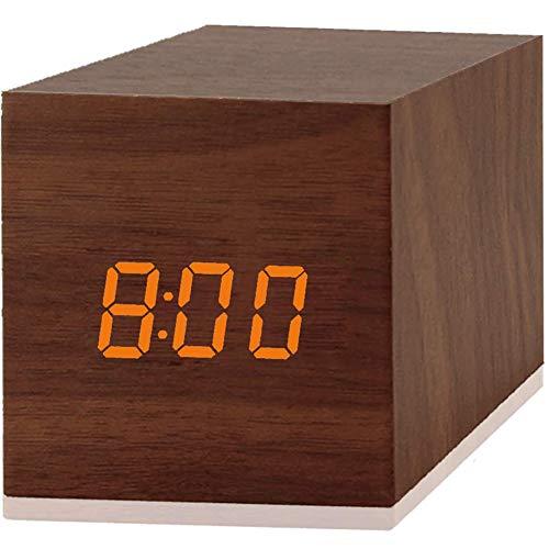 Seqmiro LED Digitaler Wecker, Holz Digitaluhr Digitalwecker Digital Wecker Tischuhr Reisewecker Uhr Zeit Datum Temperaturanzeige - Stimme und Berührung aktiviert - USB Kabel/Batteriebetriebener
