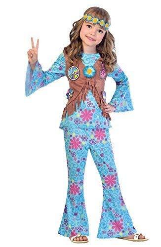 Fancy Me Mädchen blau Blumen Hippie Hippy 60s Jahre 1960s Jahre Sechziger Jahrzehnte Kostüm Kleid Outfit Festival-Karneval 6-12 Jahre - 8-10 Years