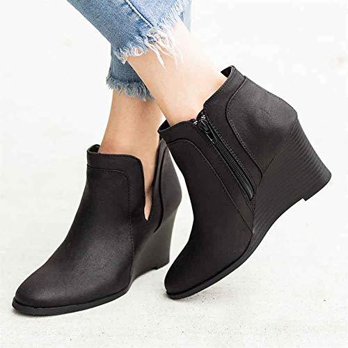LCCYJ Mujer Botas de Invierno Mujer Cuñas Cremallera Color Sólido Botines Cortos Zapatos de Punta Redonda,Negro,43