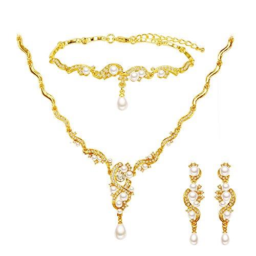 BiBeary Damen Zirkonia CZ künstliche Perle Braut Party elegant Schmuckset Set Halskette Ohrringe Armband Armkette resagold-Ton