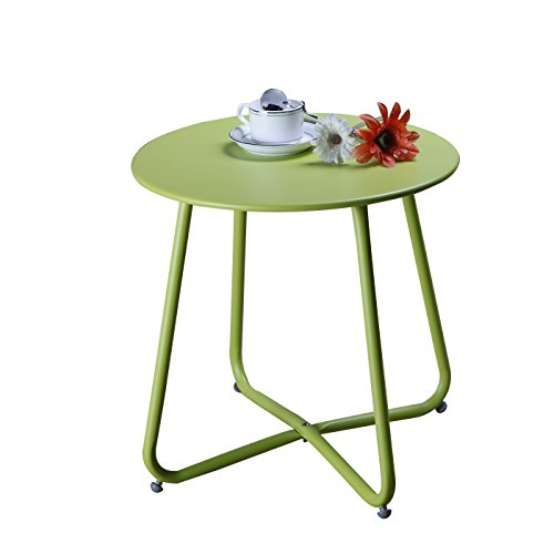 Grand Patio Steel Patio Side Table, Weather Resistant Outdoor Round End Table, Lime Green