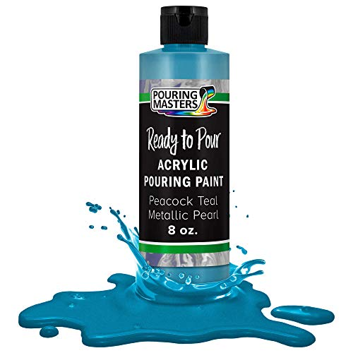 Pouring Masters Peacock Teal Metallic Pearl Acrylic Ready to Pour Pouring Paint – Premium 8-Ounce Pre-Mixed Water-Based - for Canvas, Wood, Paper, Crafts, Tile, Rocks and More