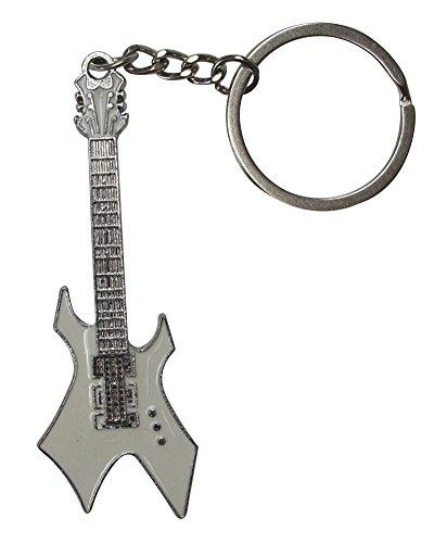 Llavero de Acero Plateado diseño de Guitarra eléctrica Estilo Hard-Rock. (Blanco)