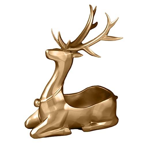 illombo Bandeja de almacenamiento de estatua de ciervo elegante y moderna resina de renos figuras esculturas caramelo joyería titular clave organizador