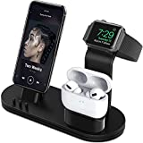 OLEBR Charging Stand Compatible with Air-Pods, i-Watch Series 6/SE/5/4/3/2/1,Phone 12/12 Pro/Max/11/11 Pro/Max/Xs/X Max/XR/X/8/8Plus/7/7 P /6S /6S P(Original Cable Required)-Sapce Gray