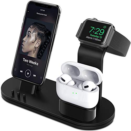 OLEBR Charging Stand Compatible with AirPods, iWatch Series 6/7/SE/5/4/3/2/1,Phone Series 13/12/12 Pro/Max/11/11 Pro/Max/Xs/X Max/XR/X/8/8Plus/7/7 P/6S/6S P(Original Cable Required)-Black