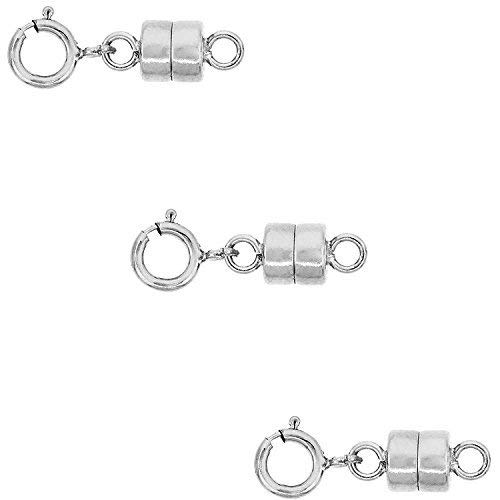 3 Pack-.925 Sterling Silver 4mm Strong Earth Magnetic Converter Connector For Necklaces, Bracelets, Anklets with 5mm Spring Ring Clasp