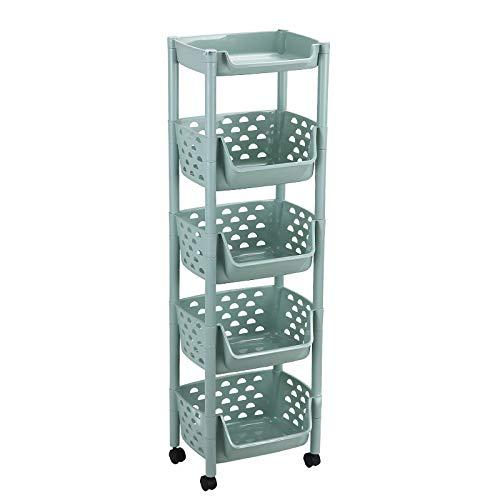 ZGY Estante de múltiples capas para vegetales de piso a techo para el hogar, baño, organizador de cocina, con cesta de almacenamiento con ruedas, color verde cinco capas