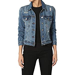 Women's Juniors Vintage Distressed Dark Washed  Trucker Denim Jacket