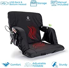 FLAAME Double Heated Stadium Bleacher Seat for Back and Bottom | 180 Degrees Foldable Portable Chair Thick Cushion | 6 Reclining Adjustable Positions Back and Arm Support | Battery Not Included