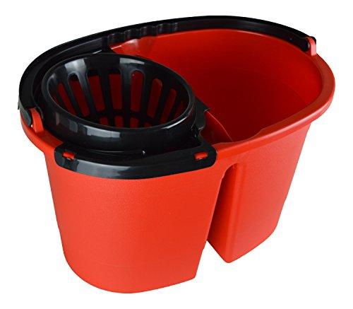 IKOLIFE CleanDouble XL Zwei Kammer Eimer für Wischmopp, 16Liter XL Eimer mit Rollen, Wischeimer für Immer frisches Putzwasser, Auswringen ohne Bücken.Das Original ! BPA frei. Made in EU