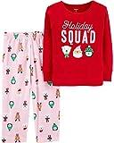 Carter's Toddler Girls' 2 Piece Christmas Cotton & Fleece Pajamas,Red/Pink,2T