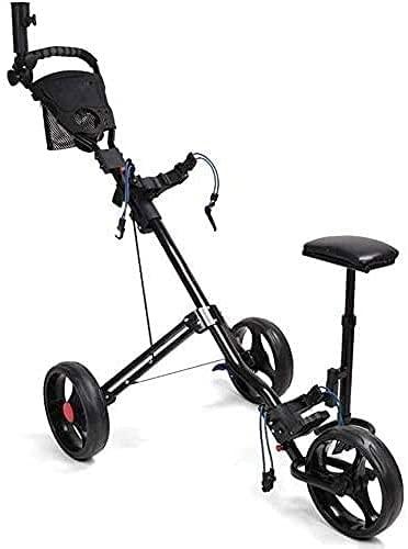 WSVULLD Carrito de golf, carrito de golf para palos de golf, un segundo para abrir y cerrar el carrito de púas de golf, carritos de golf Push 3 ruedas plegables, accesorios de golf para hombres mujere