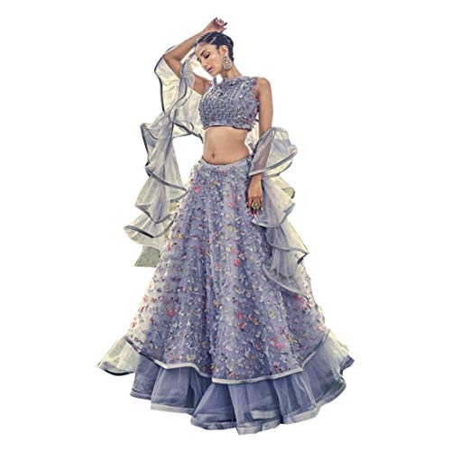 Lavendel Indische Bollywood-Designer Phantasie Lehenga Choli stilvolle Mädchen Damen Party Cocktail tragen Ghagra Cum Kleider 8921
