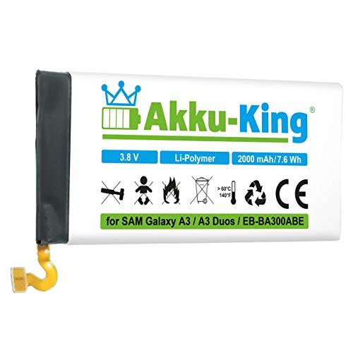 Akku-King Akku kompatibel mit Samsung EB-BA300ABE - Li-Polymer 2000mAh - für Galaxy A3, A3 Duos, SM-A3000, SM-A3009, SM-A300FU, SM-A300G, SM-A300M