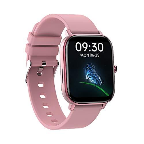 Pulsera inteligente de pantalla completa de 1,6 pulgadas, esfera dinámica 3D, multifunción, impermeable, reloj deportivo, color rosa