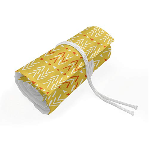 ABAKUHAUS Oranje Etui met Rolomslag voor Pennen, Abstract Folk driehoeken Art, Duurzame & Draagbare Potloodetui, 72 Vakjes, Mosterd Vermilion en White