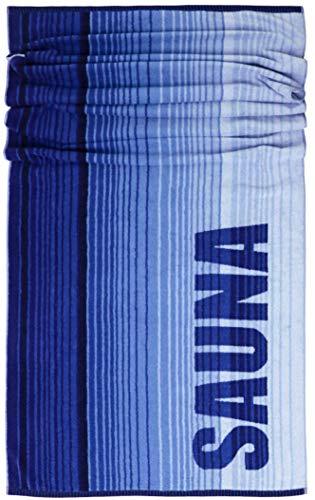 Lashuma Saunahandtuch Oslo, Badetuch Blau - Dunkelblau gestreift, Liege Handtuch XXL Größe: 85x200 cm