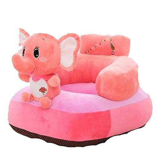 TIB Elephant Shape Baby Soft Plush Cushion Baby Sofa Seat OR Rocking Chair for Kids (Pink, 0 to 4 Years)