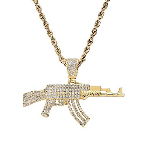 Hip HopZircon Concrete Stone Bubble Ice Cube Solid CS GO AK 47 Collar con colgante de pistola para hombres Joyería intercambiable Color dorado y plateado Cadena de cuerda de 16 pulgadas