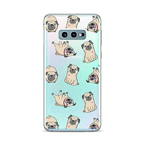 Samsung Galaxy S10e Case,Blingy's New Fun Animal Style Transparent Clear Soft TPU Protective Case Compatible for Samsung Galaxy S10e (Pug Style)