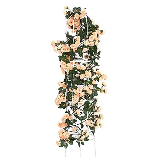 2 pcs Ghirlanda di Rose Artificiali - Ghirlanda Fiori Artificiali - Appesa Edera Fiore Vite Rosa Artificiale per decorazione foglie di piante sospese (Champagne)
