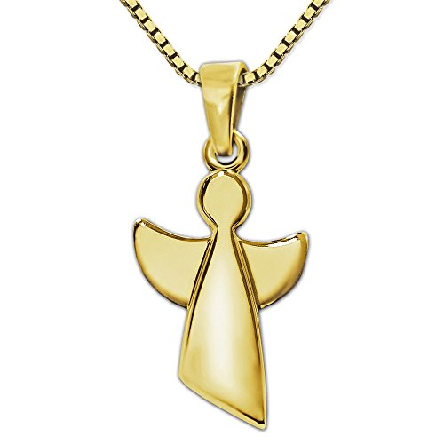 Clever sieradenset gouden hanger engel 15 mm eenvoudig abstract gesloten hoogglanzend gepolijst 333 goud 8 KARAAT en vergulde ketting Venezia 42 cm
