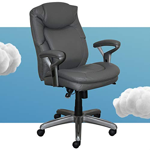 Serta AIR Health and Wellness Executive Office Chair, High Back Big and Tall Ergonomic for Lumber Support Task Swivel, Bonded Leather, Gray
