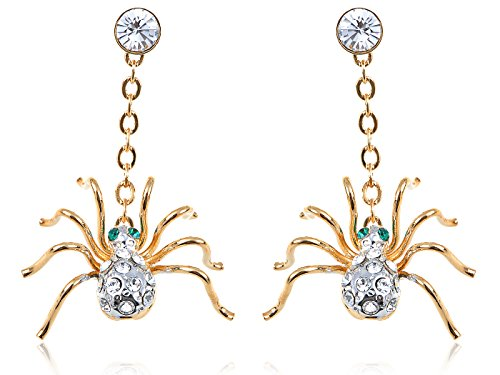 Alilang Frauen Petite Golden Swarovski Elements Strass Spinne Ohrringe Ohrhänger