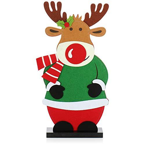 com-four® Weihnachtsdeko Rentier Figur aus Filz - Fensterbrett Dekoration zu Weihnachten - Winterdeko - Weihnachtsfigur - Filzdeko