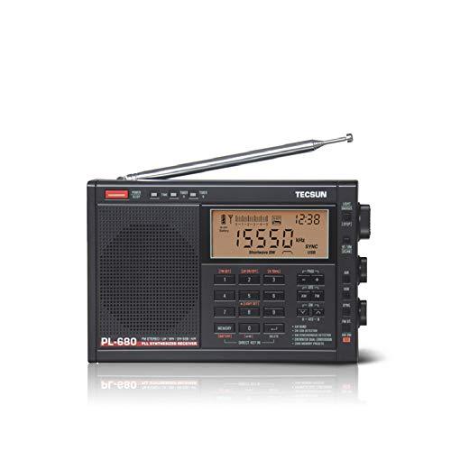 Tecsun PL-680 Tragbares digital abgestimmtes Hochleistungs-Breitband-Stereoradio (Schwarz)