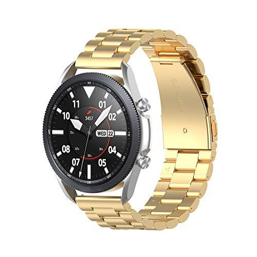 Ruentech Compatible con Samsung Galaxy Watch 3 45 mm/Samsung Galaxy Watch 46 mm/Amazfit GTR 47 mm pulsera de metal acero inoxidable pulsera de repuesto 22 mm accesorios (dorado)
