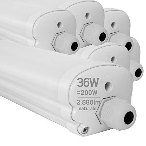 6x Plafoniere LED 36W 120cm Impermeabile IP65 2880 lumen - Forma: Tubo - Luce Bianco Naturale 4000K - Fascio Luminoso 120°