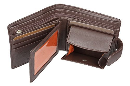 RFID Mens Brown Wallet - Soft Mala Leather Origin Wallets for Men with RFID Contactless Card Protection Protector - Boxed Leather Tab Wallet Holding 8 Credit Card Slots Notes Coin Pocket (Brown)