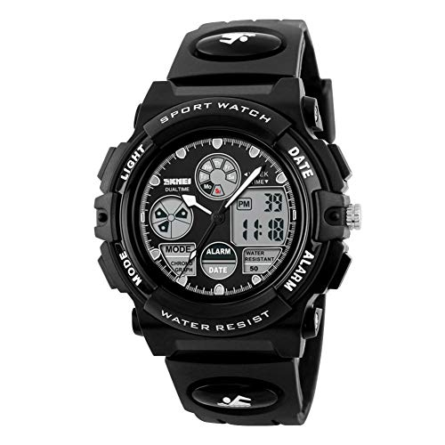 Kids Digital Sports Watches - Boys Childrens Teenagers Electronic Waterproof Outdoor Analogue Watch with Multi Function Stopwatch/Alarm/Timer/LED Light/Dual Time Zone/Chronograph/Calendar Date Window