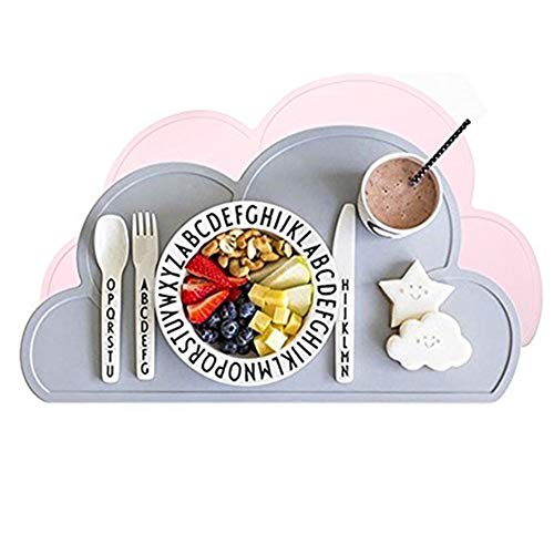 Kuke Kinder Wolken-Form Silikon Wasserdichtes Platzdeckchen (rosa+grau) …